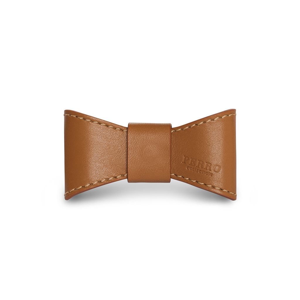 leather dog bowtie caramel