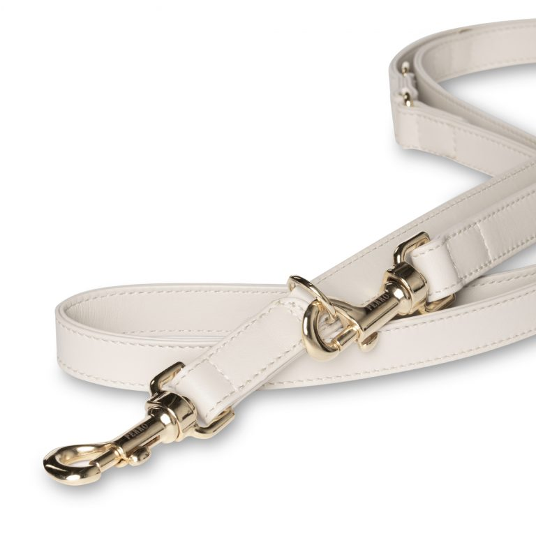 off white long leash close up