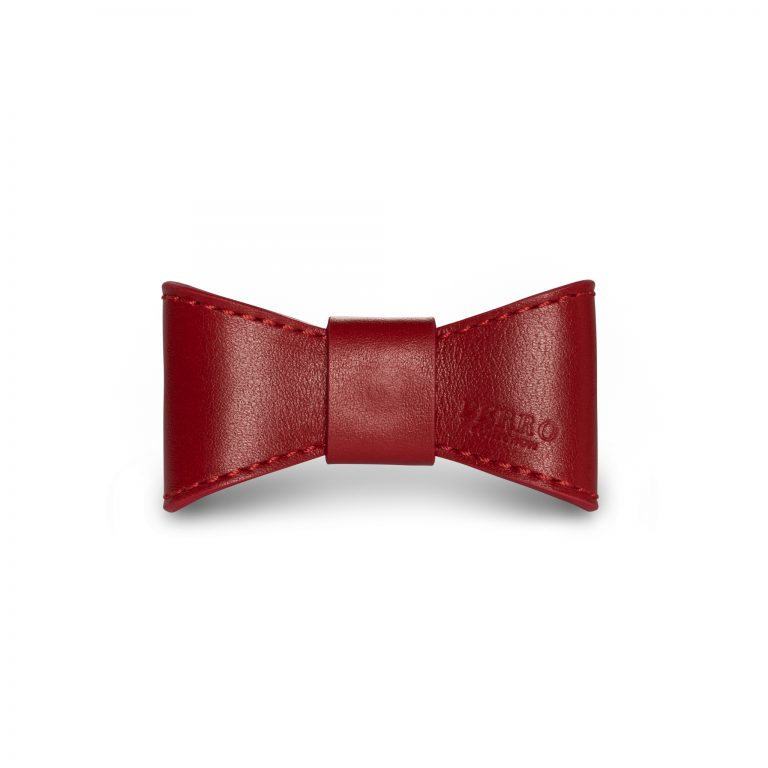 Scarlet leather bowtie red