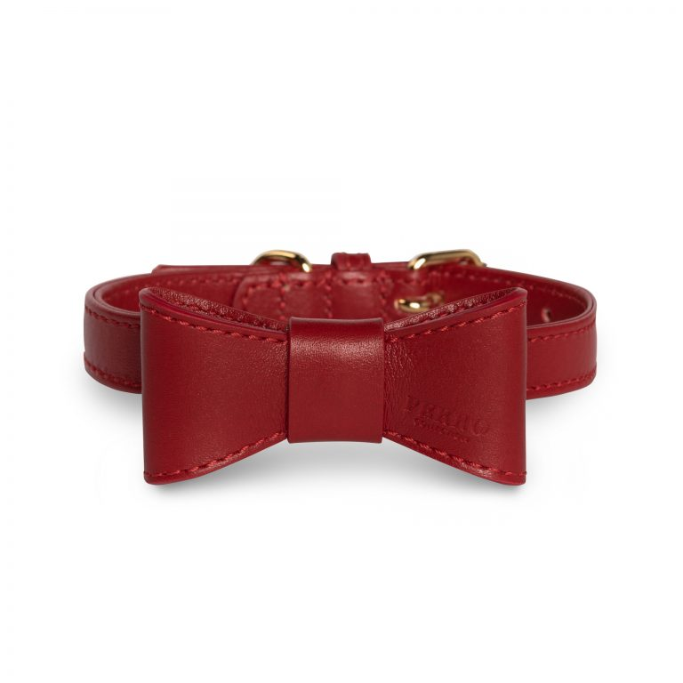 Scarlet leather dogbowtie red on collar