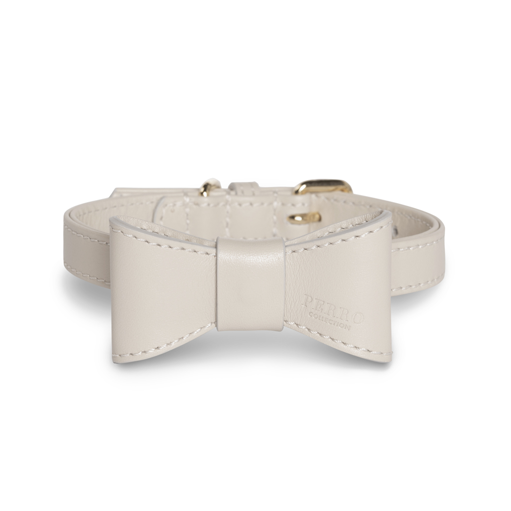 Leather bowtie on dog collar offwhite