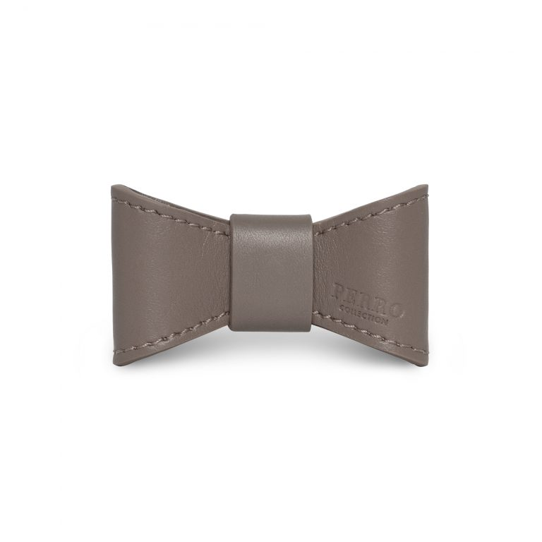 Taupe leather bowtie