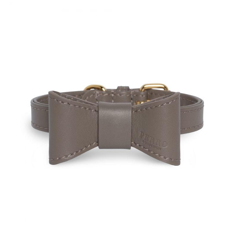 Taupe leather bowtie on collar